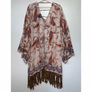 NEW Kimono Boho Paisley Print Fringed M/L